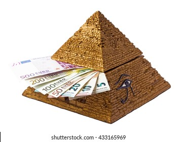 Pyramid box  with money.Pyramid  of Egypt and euros.Pyramid eye.