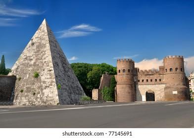 Pyramid of Cestius near the Porta San Paolo, Rome, Italy