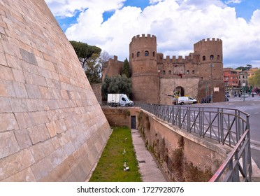 The Pyramid of Cestius and Porta San Paolo in eternal city of Rome view, capital of Italy - Shutterstock ID 1727928076