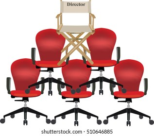 pyramid of chairs topped the director's chair