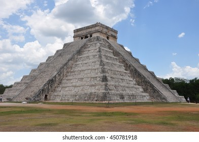 The Pyramid of Chichen Itza , altar for religious and sacrifices known as one of the seven wonders of the world. Detail of snake that comes down from heaven on the Equinox .
