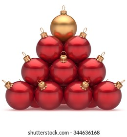 Pyramid christmas ball red leader golden on top first place winner New Year's Eve baubles group decoration. Compare leadership hierarchy success Happy Merry Xmas wintertime business concept. 3d render