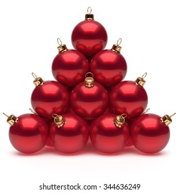 Pyramid Christmas balls red New Year's Eve baubles group adornment decoration glossy spheres ornament. Happy Merry Xmas traditional wintertime holidays celebrate greeting card concept. 3d render