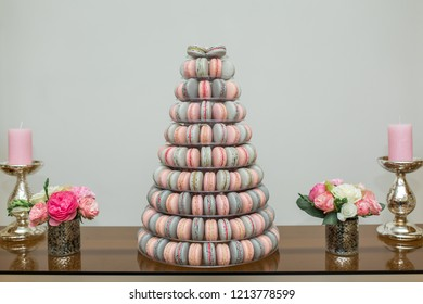 Pyramid of colored macaroon cakes