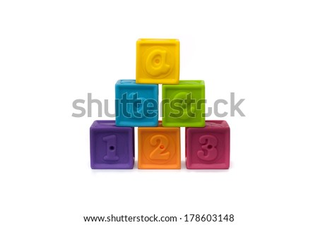 Pyramid Colored Play Blocks Letters Numbers Stock Photo Edit Now