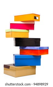 pyramid of colorful boxes on white background