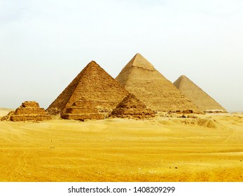 The Giza pyramid complex in Giza in Egypt, built as the tomb for Egyptian pharaoh and consort during the Old and Middle Kingdom periods.