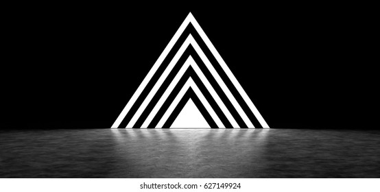 Pyramid consisting of glowing stripes. 3D Render