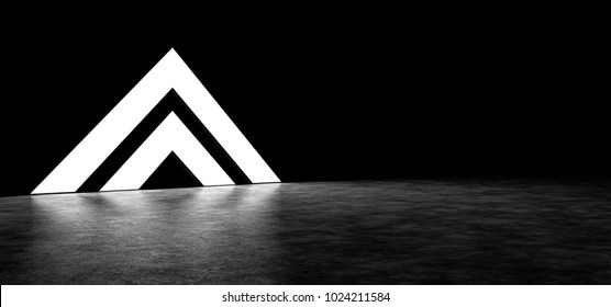Pyramid consisting of two glowing stripes. 3D Render