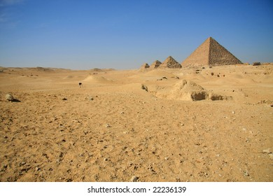 pyramid in the desert, famous architecture in Egypt