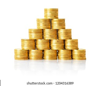 A pyramid of golden coins on a whithe background