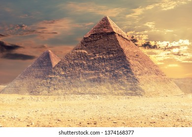 The Pyramid of Khafre and the Pyramid of Cheops, Giza desert, Egypt