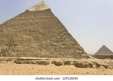 Pyramid of Khafre (left) and Menkaure in Giza necropolis, Cairo, Egypt