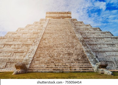 Pyramid of Kukulkan in Chichen Itza in the sunlight. Yucatan, Mexico