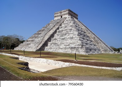 Pyramid Kukulkan and dig in the ground in Chichen Itza, Mexico