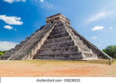 Pyramid Kukulkan in the Mayan archeological site Chichen Itza, Mexico