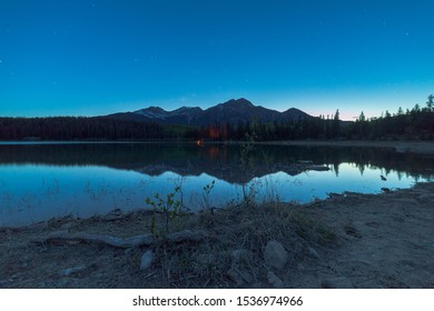 Pyramid Lake and Pyramid Mountain at twilight. Taken in Jasper, Alberta, Canada