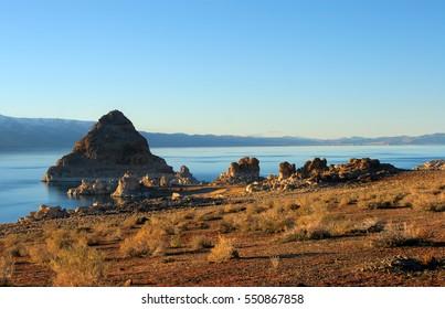 Pyramid Lake, Nevada.  Pyramid is a tufa rock formation.