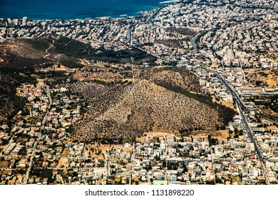Pyramid and  Landscape of Vari  from the air , near Athens, Greece.