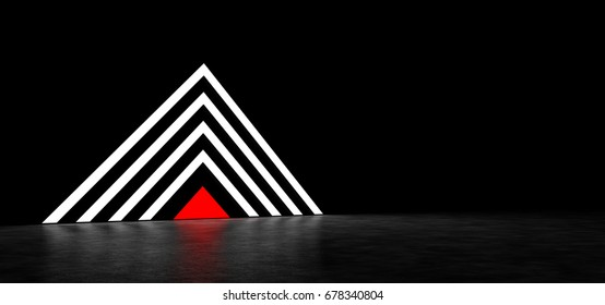 Pyramid of luminous bands with a red triangle at the base. 3D Render