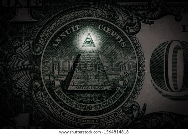 Pyramid macro close-up on a banknote of 1 US dollars. Detail of one dollar bill.