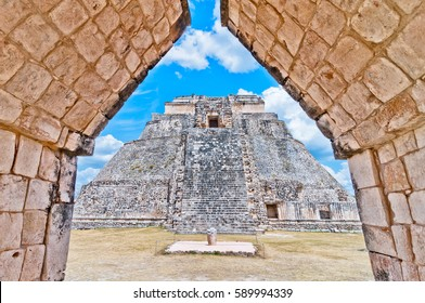 The Pyramid of the Magician is the central structure in the Maya ruin complex of Uxmal, Mexico
