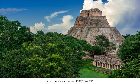Pyramid of the Magician, in the Uxmal archeological site, ancient Mayan city from the classic period, representative of the Puuc architectural style, in Yucatan, Mexico