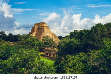 Pyramid of the Magician, uxmal, located in yucatan, mexico
