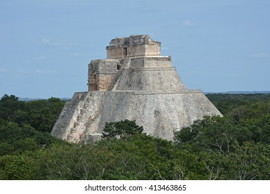 The Pyramid of the Magician, Uxmal, Yucatan Peninsula, Mexico. The Adivino (the Pyramid of the Magician or the Pyramid of the Dwarf), Uxmal, Yucatan, Mexico. View from Governor's Palace.