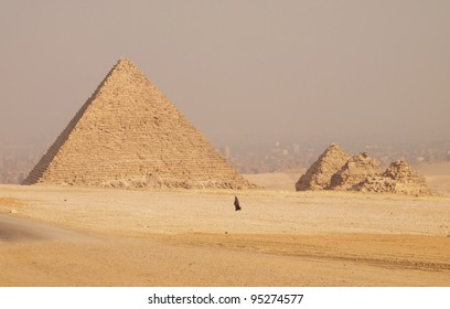 The Pyramid of Menkaure with three Queen's pyramids, Giza, Egypt