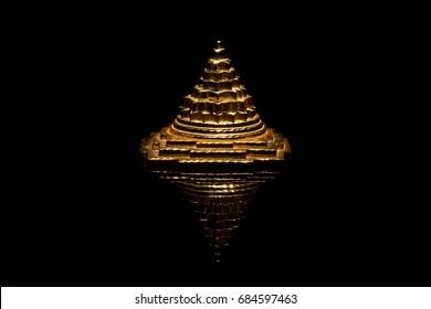 The pyramid meru chakra on a black background