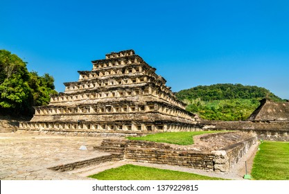 Pyramid of the Niches at El Tajin archeological site, UNESCO world heritage in Mexico