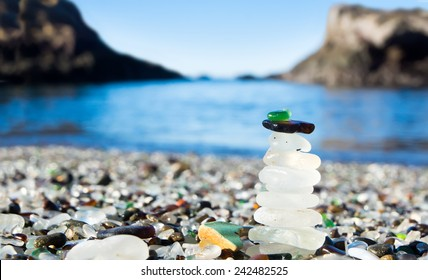 Pyramid of polished sea glass. Glass Beach is a beach in MacKerricher State Park (California, USA). Pacific Coast