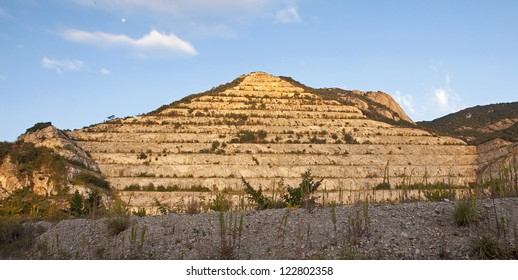 The pyramid in the quarries on the island Shodoshima in Japan