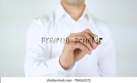 pyramid Scheme, Man Writing on Glass