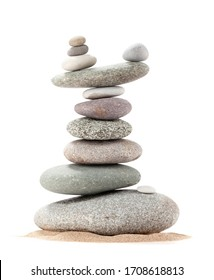 Pyramid of sea pebbles. Isolated on white background. Life balance and harmony concept