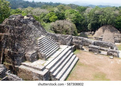 Pyramid shaped stone temples at the ancient Mayan ruin of Caracol in Belize