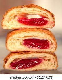 a pyramid of sliced croissant