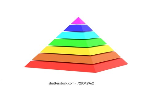 Pyramid square chart rainbow color 3d illustration