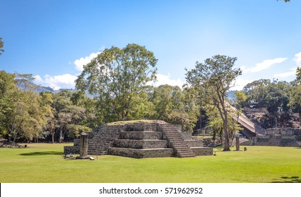 Pyramid and Stella in the ancient Mayan city of Copan in Honduras