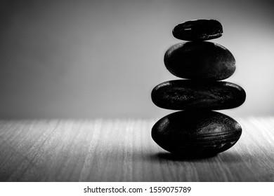 Pyramid of the stones,black and white. Zen stone, meditation concept, zen lifestyle.