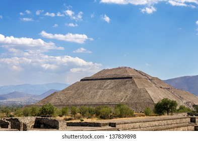 Pyramid of the Sun in Teotihuacan with clear blue sky near Mexico City