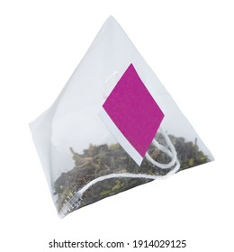 Pyramid with tea and blank label on white background, isolate.