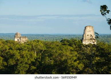 Pyramid in Tikal, Guatemala, Maya culture Mayan architecture and biosphere