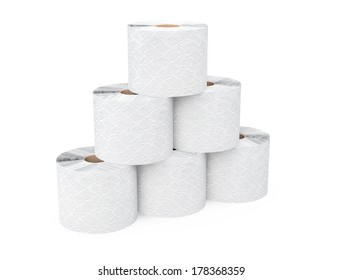 Pyramid from toilet paper rolls on a white background