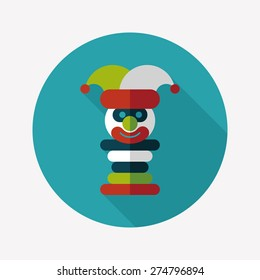 Pyramid toy flat icon with long shadow