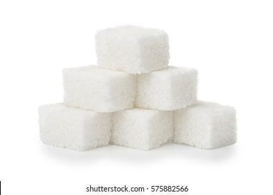 Pyramid of white sugar lump isolated on white background