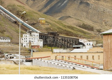 PYRAMIDEN, NORWAY - SEPTEMBER 03, 2011: View to the ruined coal mine in the abandoned Russian arctic settlement Pyramiden, Norway.