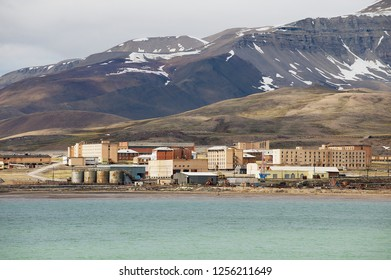 Pyramiden, Norway - September 03, 2011: View to the abandoned Russian arctic settlement Pyramiden Svalbard, Norway.