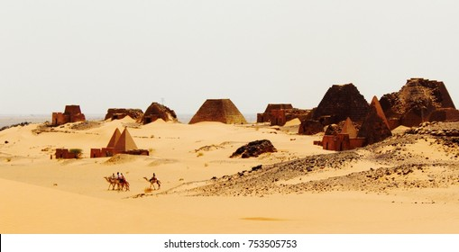 Pyramids and camels in Meroe, Sudan